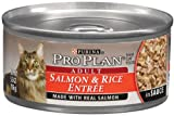 Pro Plan Canned Cat Food, Adult Salmon and Rice Entrée In Sauce, 3-Ounce Cans (Pack of 24), My Pet Supplies