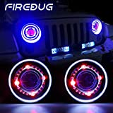 Image of Firebug 7 Inch Jeep Wrangler LED Headlights White & Blue Halo Angel Eyes & Red Demon Eye, 7 Inch Round LED Halo Headlights for Jeep Wrangler 97-16 CJ JK TJ FJ Sport Rubicon Sahara