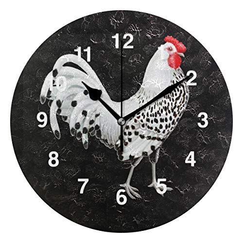 Jojogood Rooster Wall Clock Silent Non Ticking Clock,Battery-Powered with Quartz Movement for Living Room Bedroom Home Decoration
