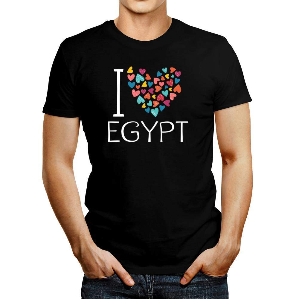 Idakoos I Love Egypt Colorful Hearts T-Shirt