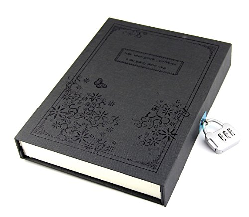 B&S FEEL Vintage Style Hard Cover Thick Diary Notebook Journal Notepad with Code Lock Gift Box, Black