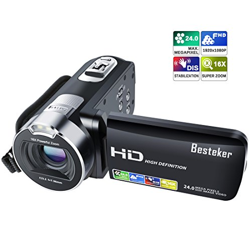 Camera Camcorder, Besteker 1080P Recorder 24M 16X HD Digital Zoom Video Camcorder 2.7 Inch LCD and 270 Degree Rotation Screen by Besteker