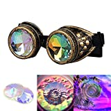 ilandle Kaleidoscope Halloween Goggles Steampunk Goggles Cosplay Glasses with Adjustable Elastic Band, Copper