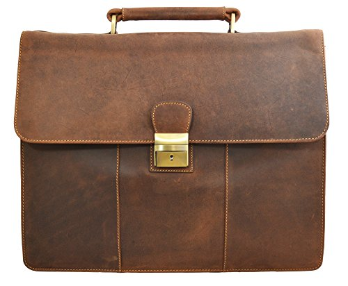 Visconti Visconti Apollo Oil Tanned Leather Briefcase With Strap and Lock É by Visconti