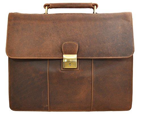 Visconti Visconti Apollo Oil Tanned Leather Briefcase With Strap and Lock É by Visconti