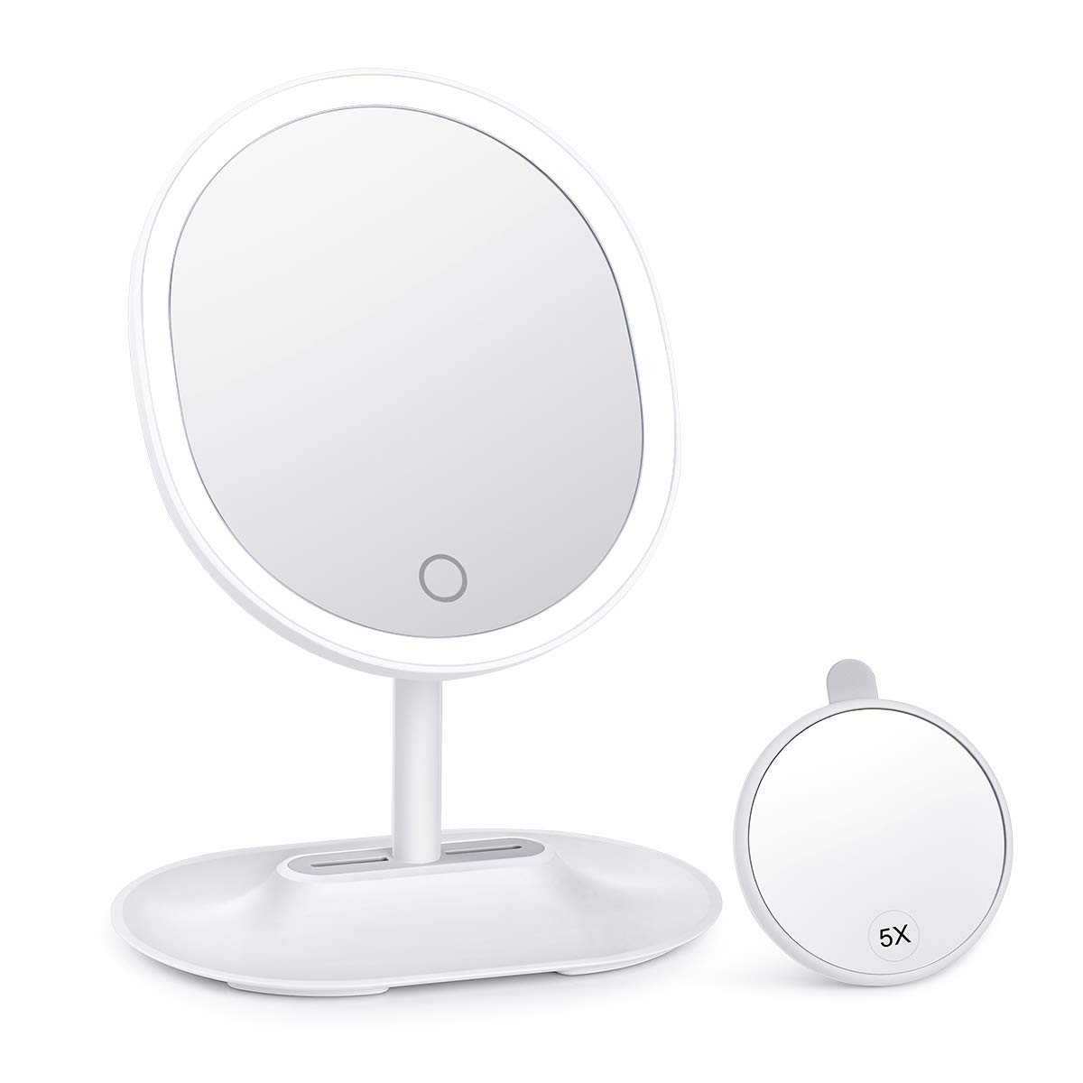 KEDSUM 1X/5X Lighted Magnifying Makeup Mirror, 7.9'' Dimmable Vanity Mirror with lights, Magnification Light up Mirrors with Touch Switch, 360 Degree Swivel, Battery Operated