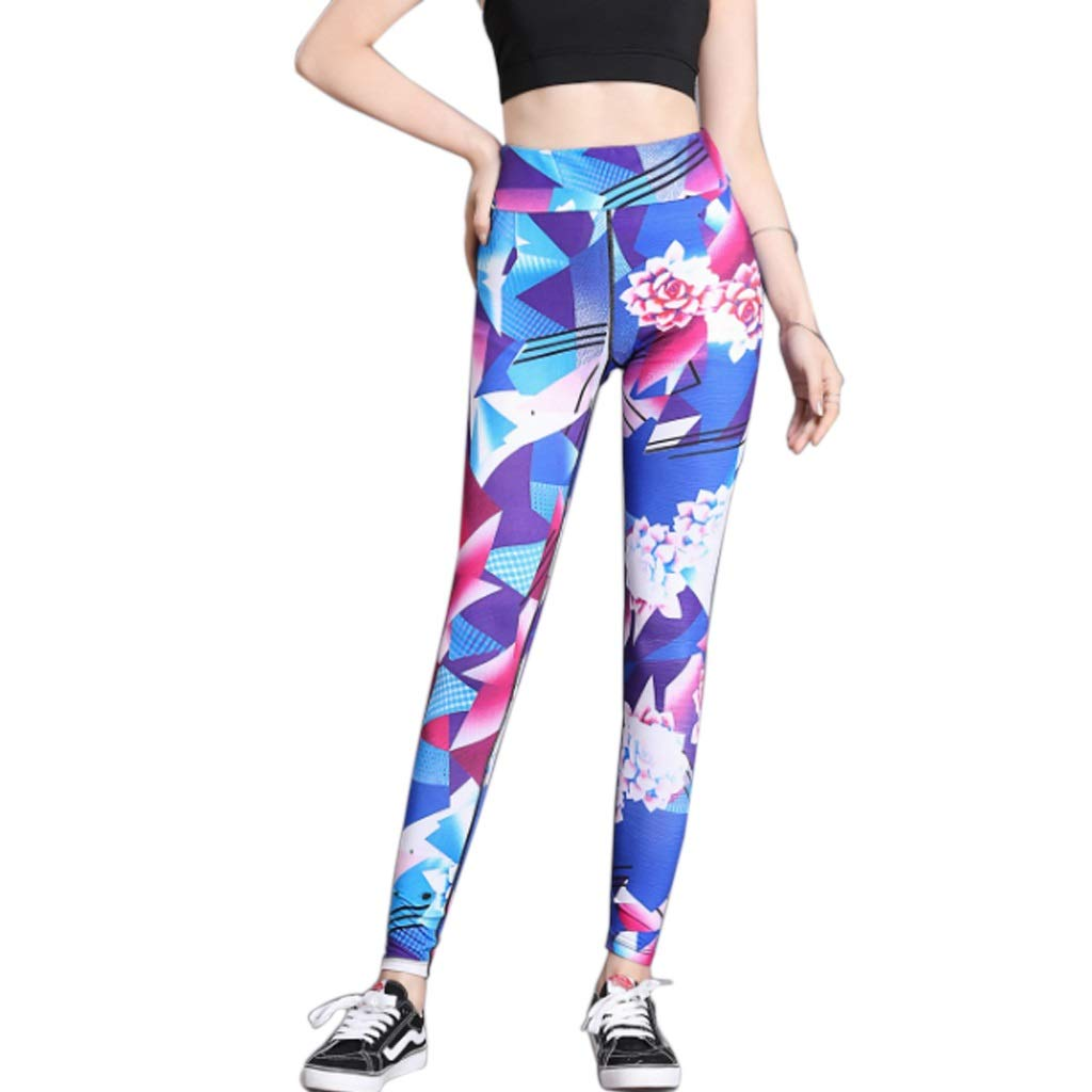 XL Women's Long Yoga Pants High Waist Stretch Printed Sports Running Fitness Tights Leggings Tummy Control Gym Workout Fitness Pants