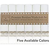 """Premium Baby Washcloths - (6 Pack) Organic Baby Washcloth Bamboo - Ultra Soft Face Towels - 10"""" x 10"""" - Perfect Baby Gifts, Wash Cloths for Eczema (Beige/White)"""