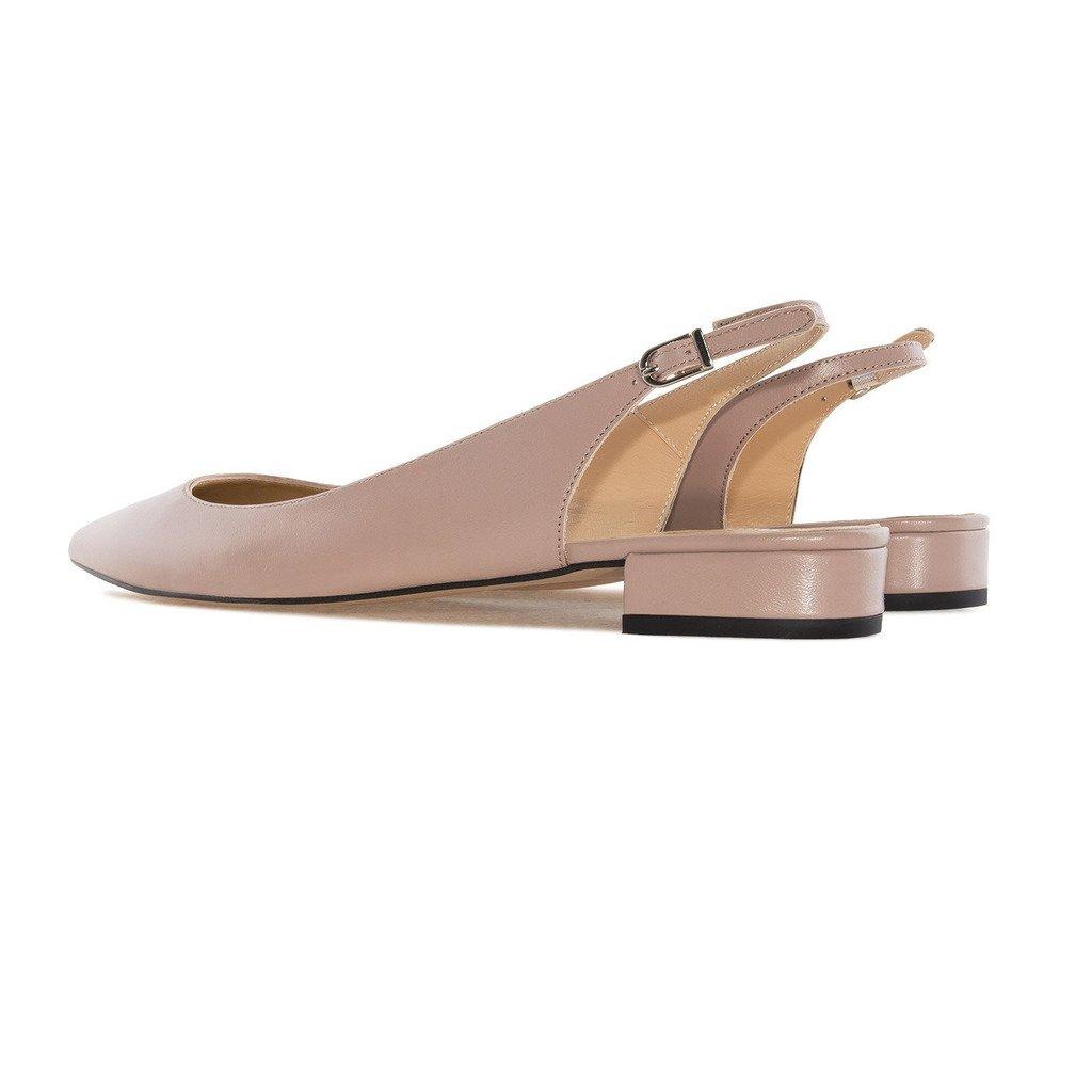 Eldof Women Low Heels Pumps   Pointed Toe Slingback Flat Pumps   2cm Classic Elegante Court Shoes B0732ZKZ16 11 B(M) US Beige