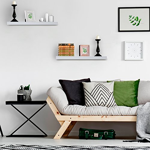 Sorbus Floating Shelf — Hanging Wall Shelves Decoration — Perfect Trophy Display, Photo Frames (White) by Sorbus (Image #4)