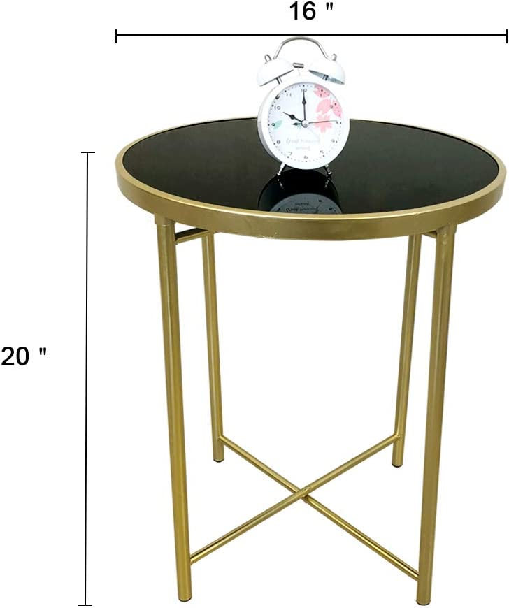 JIFULI Small Round Coffee Side Table Iron Frames Tempered Glass Panel Nightstand for Small Spaces