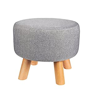Ottoman Footstool - Round Pouf Ottoman Foot Stool Foot Rest With Removable  Linen Fabric Cover, Grey, 16 x 16 x 13.5 Inches