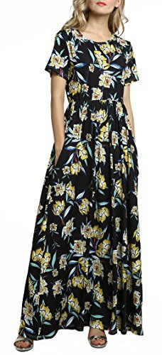 (Afibi Women Floral Printed Crew Neck Short Sleeve Maxi Dress with Pockets (XX-Large, Yellow))