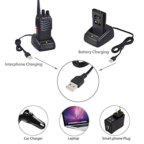 Proster Walkie Talkies Rechargeable 16 Channel 2-Way Radios With Original Earpiece and USB Charger 1 Pair by Proster (Image #3)