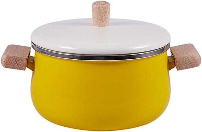 cacerola de metal esmaltado amarillo con 2l de capacidad