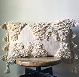 Cream Vintage Wedding Blanket Moroccan Pillow Cover - 12 x 23/16 x 26/20 x 20 - With Tassel