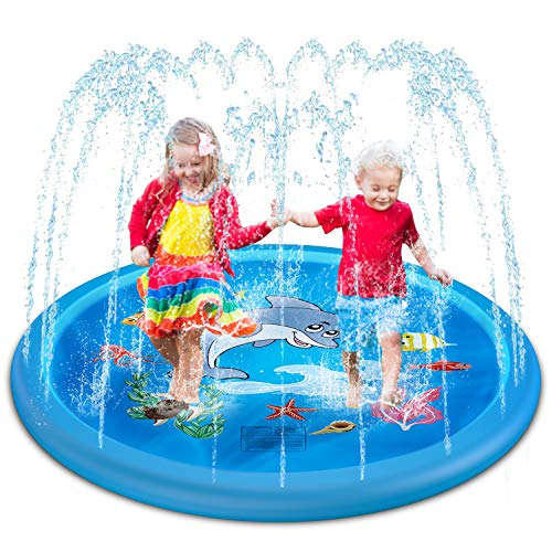 HIGBRE Splash Pad, 75'' Outdoor Swimming Pool Splash Play Pad - Splash Sprinkler Play Pad, Round Water Garden Toys (Round)
