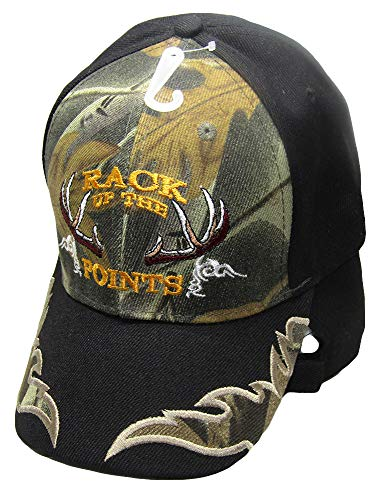 Rack of The Points Deer Antler Rack Black/Camo Camouflage Embroidered Hat Cap