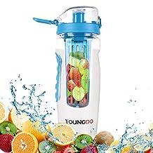 YOUNGDO 900ML Fruit Infuser Water Bottle BPA Free Tritan for Jogging Gym Blue