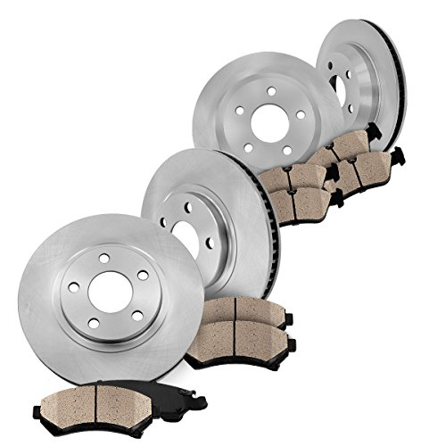 FRONT + REAR Premium OE [4] Rotors + [8] Quiet Low Dust Ceramic Brake Pads