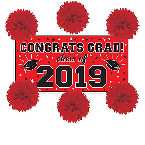 Party City Red Graduation Wall Decorating Kit, Includes a Large Plastic Banner and 6 Tissue Paper Pom-Poms for $<!--$17.99-->