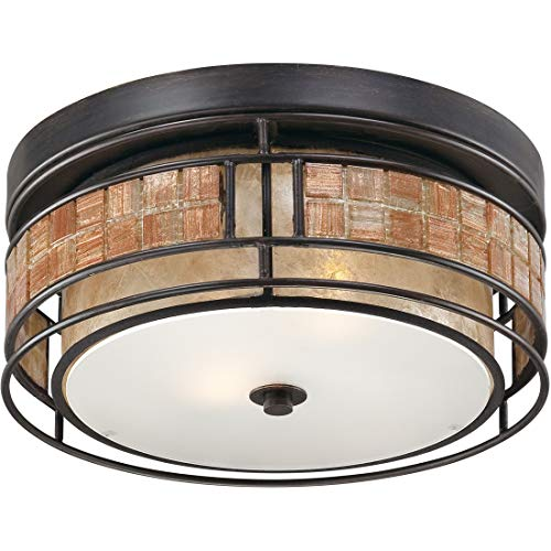 (Quoizel MCLG1612RC Laguna Mica Flush Mount Ceiling Lighting, 2-Light, 120 Watts, Renaissance Copper (6