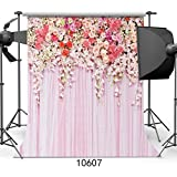 SJOLOON 10x10ft Rose Floral Wall Newborns Portraits Photography Backdrop Art Fabric studio pink flowers wall photo backdrop 10607