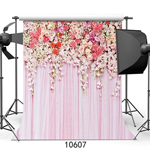 SJOLOON 10x10ft Rose Floral Wall Newborns Portraits Photography Backdrop Art Fabric studio pink flowers wall photo backdrop - Backgrounds Floral Photography