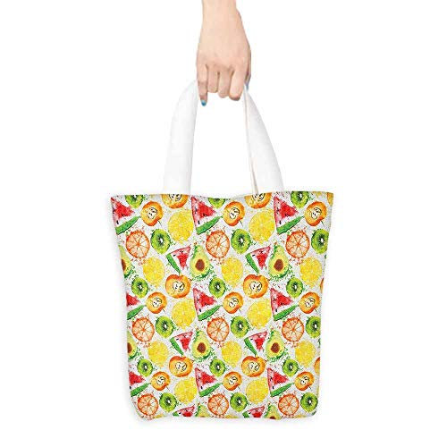 - Shopping Bag,Fruit Yummy and Ripe Watermelon Kiwi Peach Orange Avocado Lemon Grunge Watercolor Artwork,Reusable Grocery Bags,16.5