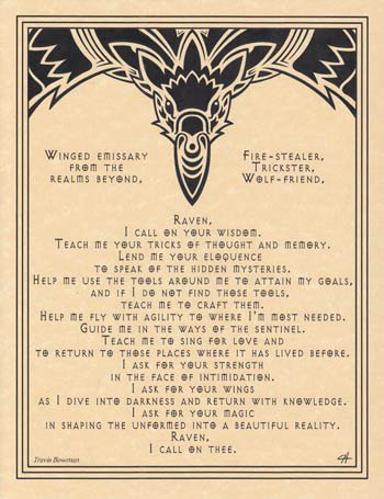 Wisdom of the Raven Animal Spirit Small Parchment Paper Poster of Prayer 8 1/2 x 11 AzureGreen