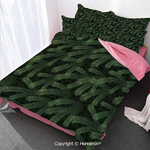 Aero Caramel - Homenon Winter Girl's Room Cover Set Full Size,Vivid Fir Pine Branches Trees Coniferous Trees Evergreen NAT,Decorative 3 Piece Bedding Set with 2 Pillow Shams Green Dark Green Caramel