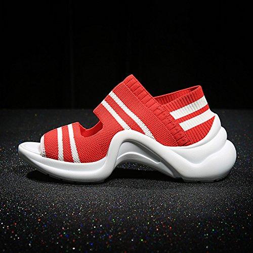 Sandales Mode Nouvelles Sport D'été QQWWEERRTT Chaussures Épais Plate Bas Forme rouge Casual Universel Femmes qT5wgEd