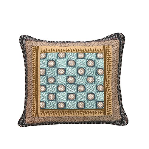 DaDa Bedding Collection Set of Two Gallery of Roses Real Patchwork Bohemian Cotton Quilted Square Throw Pillow Cushion Covers Accent Cases Pair - Bordered Navy Blue Beige Print - 18