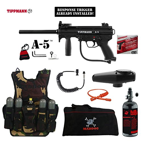 (MAddog Tippmann A5 A-5 w/Response Trigger Lieutenant HPA Tactical Camo Vest Paintball Gun Package - Black)