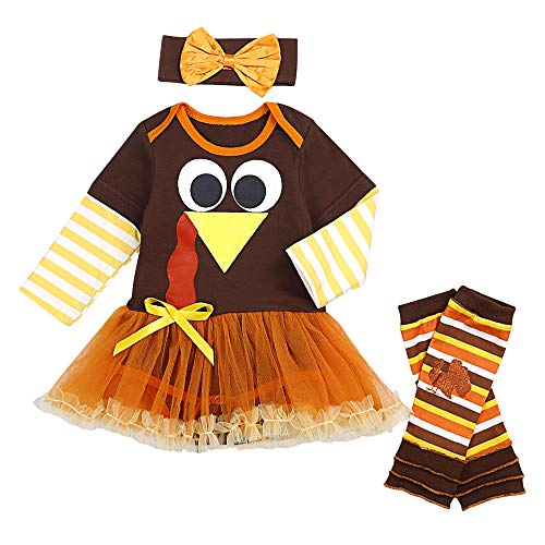 Thanksgiving Baby Girls Outfits Newborn Girl Romper with Tutu Dress and Leg Warmers Sets 3Pcs Clothes Set 0-3 Months Brown