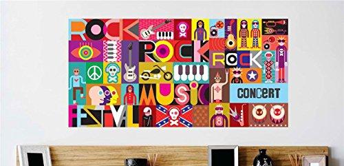 Design With Vinyl Rock Music Concert Guitar Vinyl Wall De...