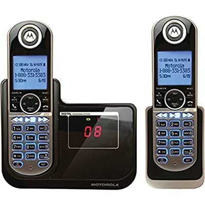 Motorola DECT 6.0 Cordless Phone with Handsets, Digital Answering System and Customizable Color Back Plates