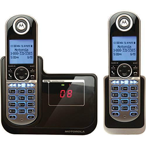 Motorola DECT 6.0 Cordless Phone with 2 Handsets, Digital Answering System and Customizable Color Back Plates P1002