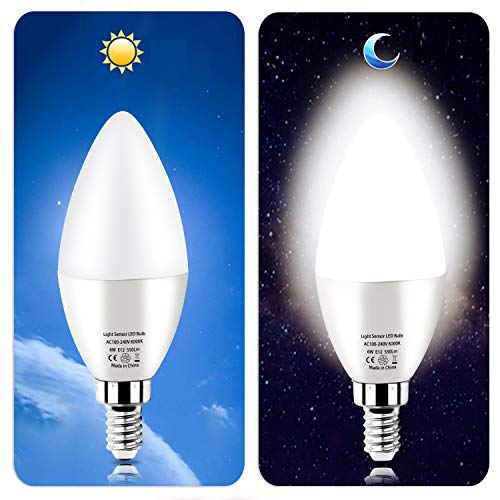 Dusk to Dawn Night Light Bulbs 6W E12 Light Sensor Bulb 6000K 60w Equivalent LED Bulb E12 LED Candelabra Bulb Base,Auto On and Off for Home,Outdoor,Yard Light,White (2 Pack)