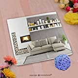 VROSELV Custom Cotton Microfiber Ultra Soft Hand Towel-Modern living room with fireplace_ Custom pattern of household products(14''x14'')