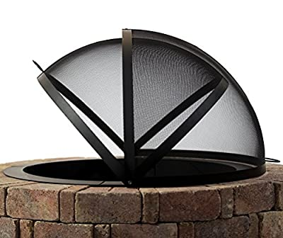 Hampton's Buzaar 32 Inch Fire Pit Easy Access Spark Screen