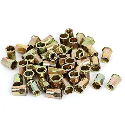 Steel Carbon Body (uxcell M6 Carbon Steel Thin Hex Head Threaded Rivet Nut Insert Nutserts 50pcs)