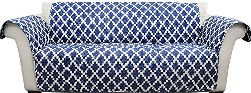 Lush Decor Wellow Ikat Furniture Protector-Geometric Diamond Block Pattern Loveseat Cover-Navy