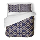 SanChic Duvet Cover Set Moroccan Abstract Pattern in Arabian Style Gold Blue Black Oriental Royal Decorative Bedding Set 2 Pillow Shams King Size