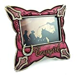 Cowgirl Resin Picture Frame Pink Leather Look, 6x4'', Hand-crafted, Hand-painted Heirloom Quality.
