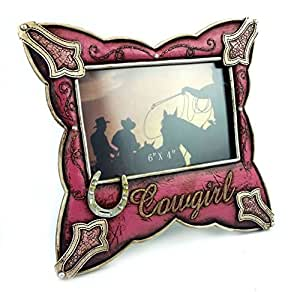 """Cowgirl Resin Picture Frame Pink Leather Look, 6x4"""", Hand-crafted, Hand-painted Heirloom Quality."""