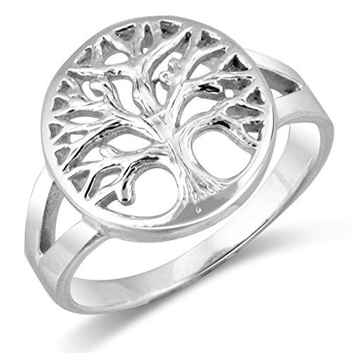 Mimi 925 Sterling Silver Open Tree of Life Ring - Size 5 (Sterling Tree Ring Silver)