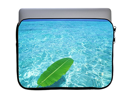 Green Palm Leaf In Blue Ocean 13x10 inch Neoprene Zippered Laptop Sleeve Bag by Trendy Accessories for Macbook or any other Laptop