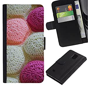 KLONGSHOP / Tirón de la caja Cartera de cuero con ranuras para tarjetas - Knitting Handycraft White Art Pattern - Samsung Galaxy Note 4 SM-N910