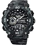 Q&Q Mens Digital Wrist Watch with Dark Gray CAMO Design